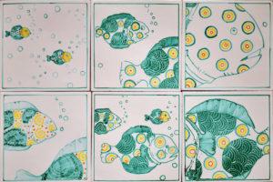 Set 6 da 6 Piastrelle 20×20 cm Pesci 06