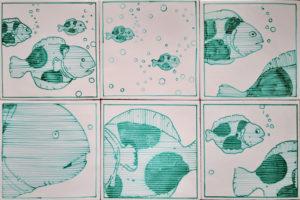 Set 6 da 6 Piastrelle 20×20 cm Pesci 04