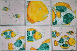 Set 6 da 6 Piastrelle 20×20 cm Pesci 07