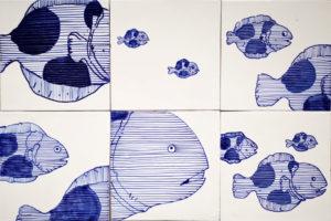 pannelli di piastrelle nuovo decoro pesci vietresi